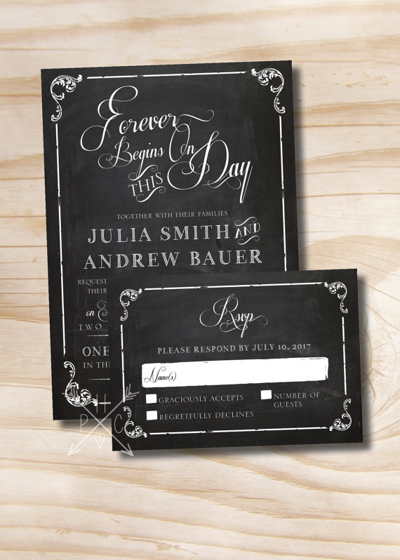 Mariage - VINTAGE BLACKBOARD Chalkboard Poster Wedding Invitation/Response Card - 100 Professionally Printed Invitations & Response Cards
