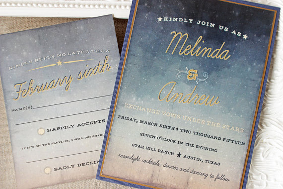Mariage - Starry Night Wedding Invitation Watercolor Twilight Navy Blue Antique Gold