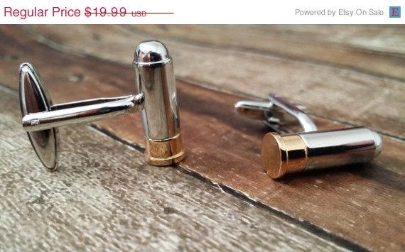 Mariage - SALE Bullet Cufflinks - Mens Cuff links with a Gift Box - Mens Jewelry - Groosman,Groomsmen, Menswear, Mens gift