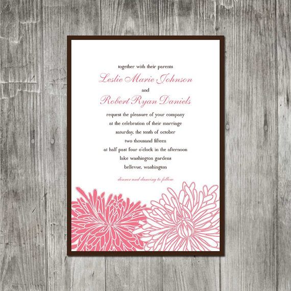 Wedding - Chrysanthemum Blossom Wedding Invitation