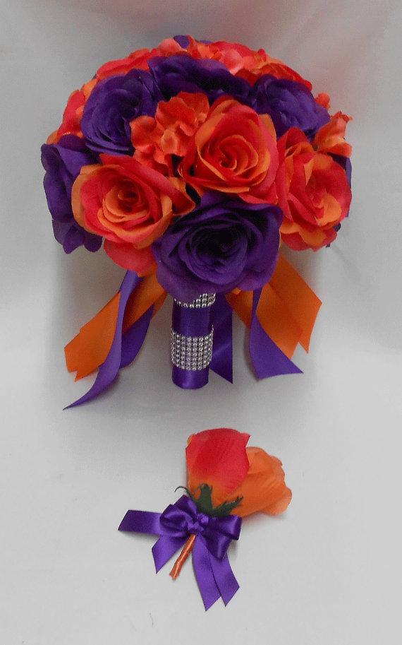 Свадьба - Wedding  Silk Flower Bridal Bouquet Purple Orange Roses  Bride's bouquet  Groom's Boutonniere
