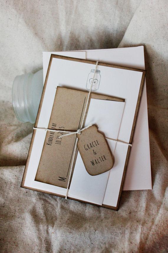 Mariage - Mason Jar Wedding Invitations, kraft wedding invitations, rustic wedding invitations, rustic invitations, mason jar invites, rustic invites
