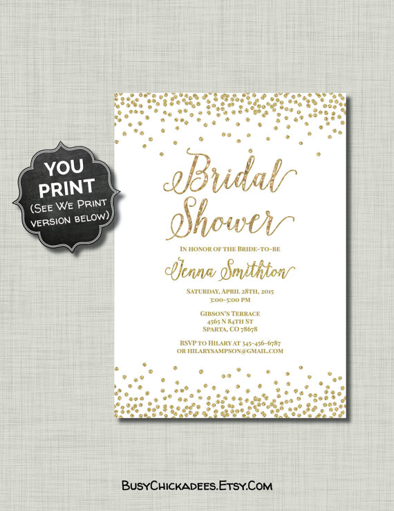 Gold White Bridal Shower Invitation Glitter Printable Pdf Jpg