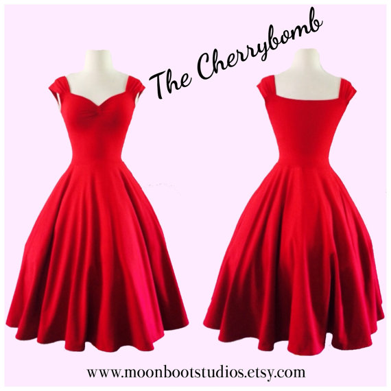 Mariage - The Cherrybomb Dress, ROCKABILLY Cap Sleeve 1950s Style Knit Bridesmaid, Pinup Off the Shoulder, Wedding Birthday Party Sweetheart Neckline