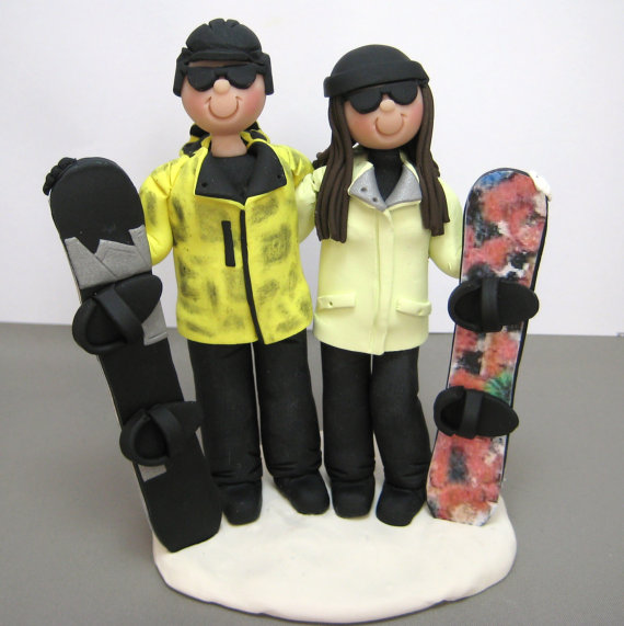 Hochzeit - DEPOSIT for a Customized Snowboarding Skiing Wedding Cake Topper polymer clay