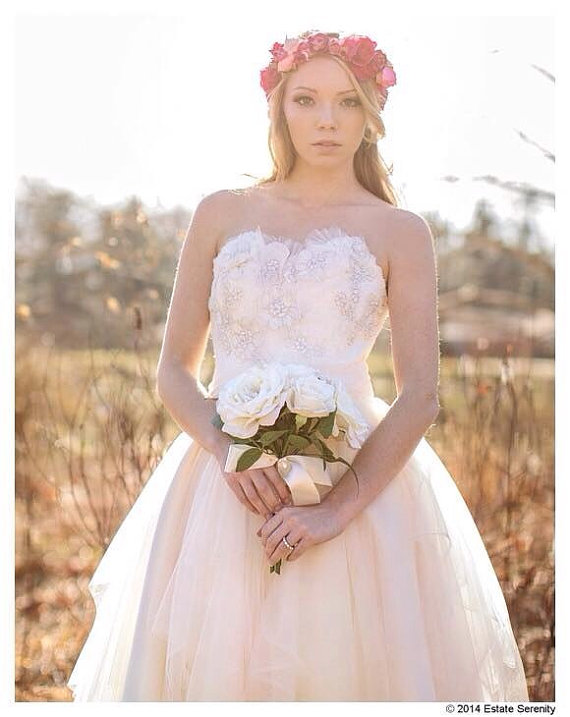 Perfect sweetheart peach wedding dress lace and tulle for Ready to wear wedding dresses online