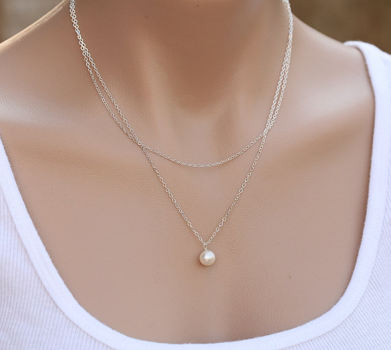 Свадьба - Bridesmaid gifts,Double Layered pearl necklace,Wedding Jewelry,Bridal jewelry,Birthday,Mother Gift