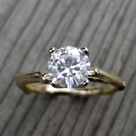 Свадьба - Moissanite Branch Engagement Ring: Yellow, Rose, or White Gold, 1ct