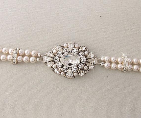 Wedding Bracelet Bridal Pearl Swarovski Pearls Rhinestone Crystal Vintage Style Marlena