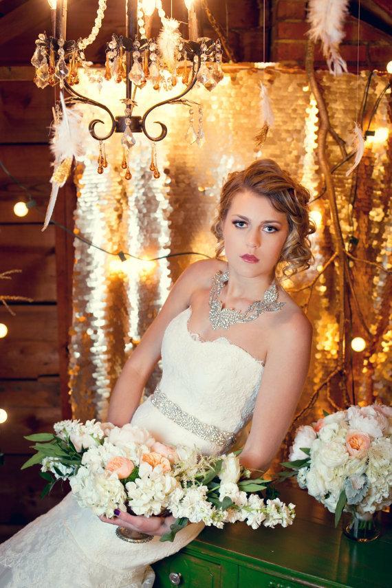 Свадьба - Crystal Bridal Belt, Rhinestone Wedding Belt Sash, Diamonds Crystals Pearls, Sparkly Crystal Sash by The Yellow Peony