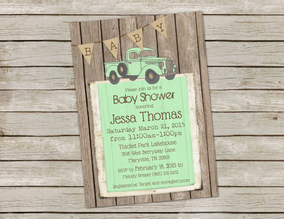 Rustic baby boy shower invitation invite digital file vintage rustic baby boy shower invitation invite digital file vintage truck shabby wood mint and burlap printable customize 5x7 filmwisefo