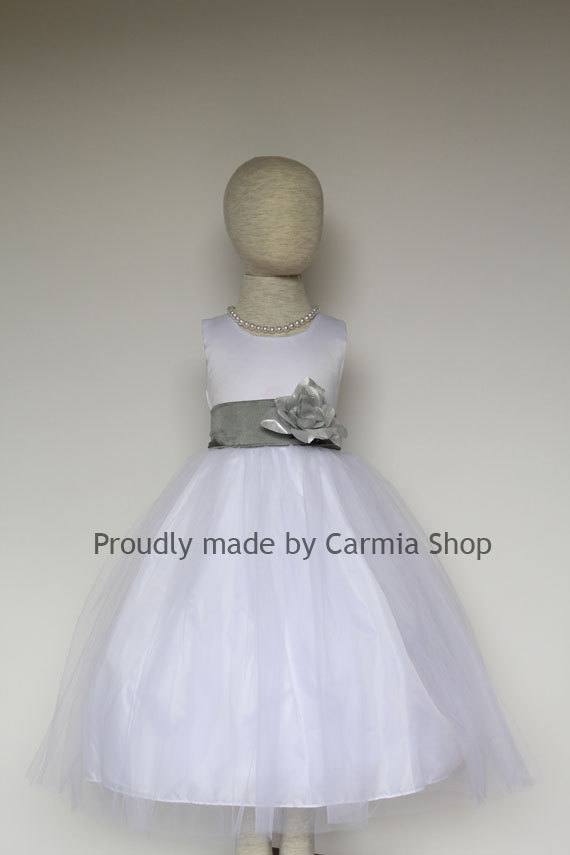 Flower girl dresses white with gray grey frbp easter wedding flower girl dresses white with gray grey frbp easter wedding communion bridesmaid toddler baby infant girl dresses mightylinksfo