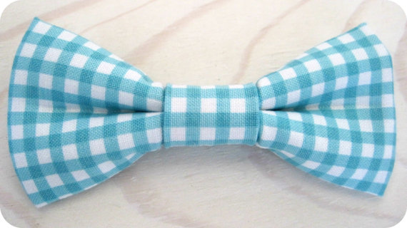 Mariage - Newborn, Infant/Toddler, Youth bowties - Aqua Riley Blake gingham checkered bowtie, wedding birthday photo prop father son sibling sets