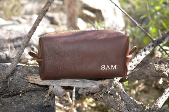 Wedding - Customized Groomsmen Gift Handmade Leather Arizona Toiletry Bag Leather Dopp Kit Present for Wedding Party with Custom Initials