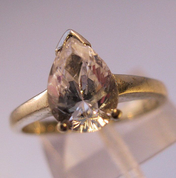زفاف - Vintage 1ct Pear Shape White Sapphire 14K Ring Solitaire White Gold Engagement Size 5 1/2 Jewelry Jewellry FREE SHIPPING