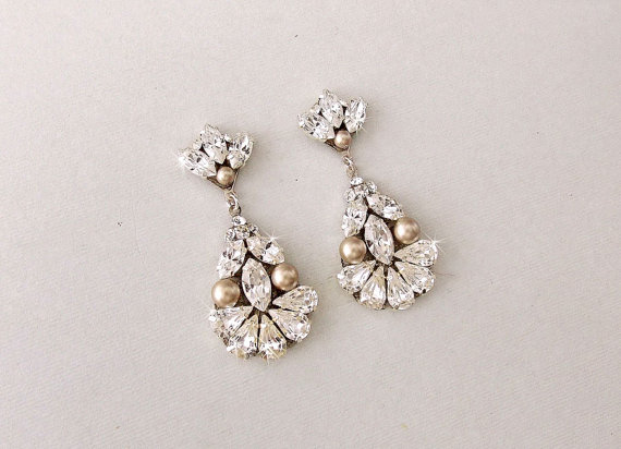 ecf604ef8f7b1 Wedding Earrings - Chandelier Earrings, CHAMPAGNE Earrings, Bridal ...