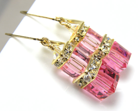 Mariage - Rose Pink Earrings, Rose Swarovski Crystal Cube, Pink Bridesmaid Earrings, Bridal Party Wedding Handmade Jewelry Gold Filled, Stacked Cube