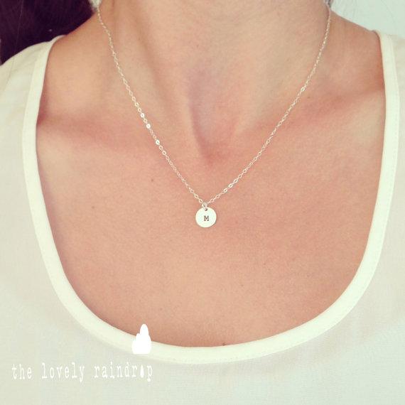 """زفاف - SALE - Customized Sterling Silver Single 3/8"""" Disc Necklace - Hand Stamped -Personalized Charm - Sterling Silver - Wedding Jewelry - Simple"""
