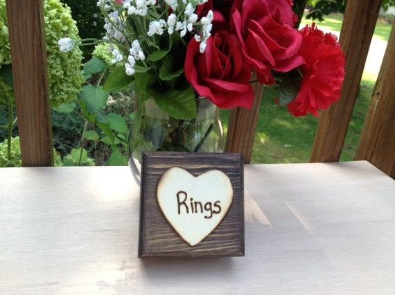 زفاف - Rustic Wedding Ring Box - Satin Lined Ring Box - Wedding Rings - Ring Bearer