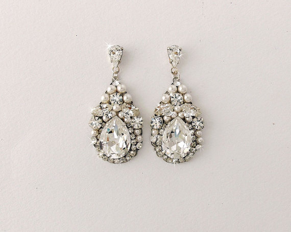 Wedding Earrings Bridal Vintage Style Swarovski Crystals Pearl Teardrop Jewelry Paige