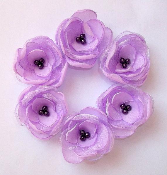 Mariage - Small Lilac Light Purple flowers in handmade Purple Weddings Bridesmaids accessories Hair Shoe Clip Dress Sash Brooch, Flower Girls Gift Set