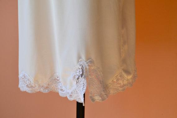 Hochzeit - Lace Shadowline White Half Slip Skirt with Slit Modern Vintage Lingerie Size Small Medium VL348