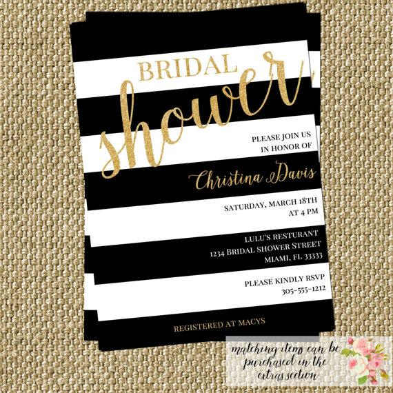 Gold Confetti Glitter Bridal Shower Invitation Modern Black White Stripes Birthday Baby Party CHOOSE WORDING