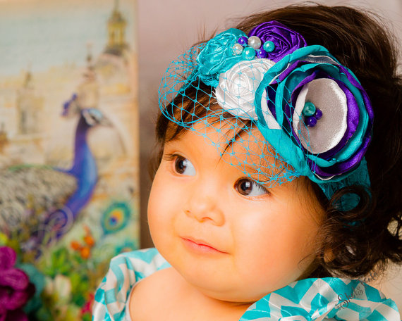 Mariage - Purple,Turquoise Over The Top Fabric Flower Headband, Satin Rosettes, Lace, Baby Girl, photo prop, baby shower gift, Flower girl, Peacock