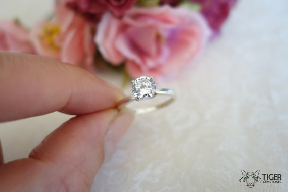 Hochzeit - 1 carat Engagement Ring, Man Made Diamond Simulant, 4 Prongs, Wedding Ring, Bridal, Promise Ring, Sterling Silver, 14k Gold Option