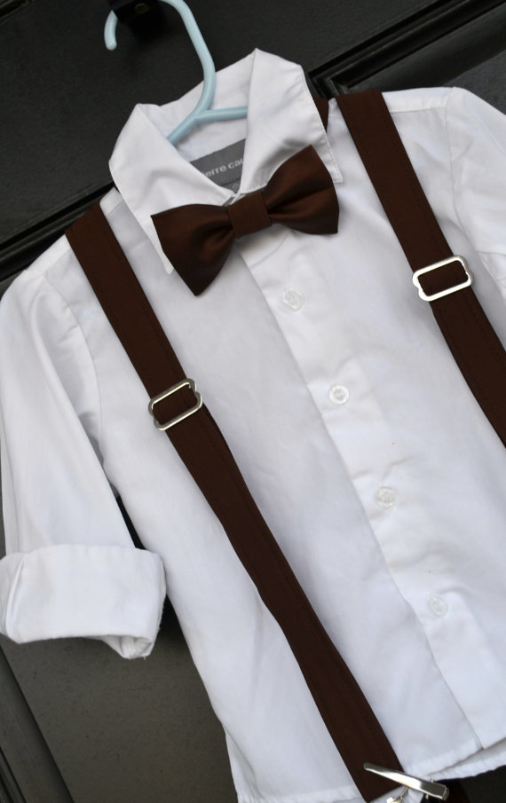 Baby toddler boy brown bow tie and suspender sets