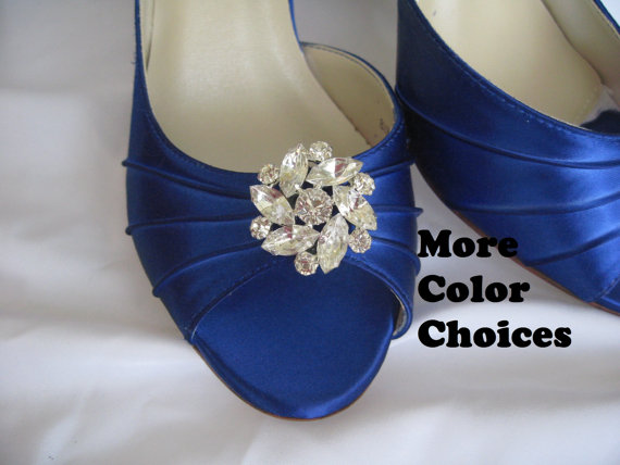 Свадьба - Something Blue Bridal Shoes with Crystal Brooch Bridesmaids Blue Wedding Shoes Over 100 Custom Color Choices