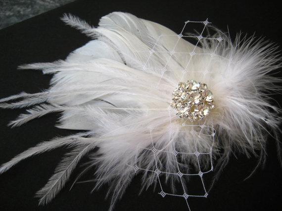 Свадьба - Wedding Bridal White Light Ivory Feather Rhinestone Jewel Veiling Head Piece Hair Clip Fascinator Accessory