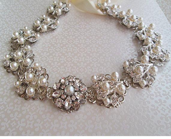 Wedding - Wedding Dress Sash pearl Ribbon Belt, Ivory ribbon sash, pearl bridal belt, pearl wedding sash, Pearl bridal sash, bridal dress sash