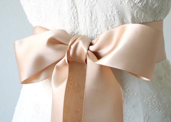 "Hochzeit - Rose Gold Ribbon Sash, Bridal Sash, Ribbon Belt, Satin Ribbon Belt, Bridesmaid Sash, Bridal Belt, Wedding Sash, 2.5"" wide"