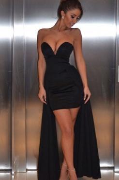 Свадьба - V Neck Sleeveless Black Mini Length Party Evening Dress