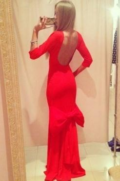 Свадьба - Backless 3/4 Sleeves Big Bow Accent Floor Length Red Evening Dress