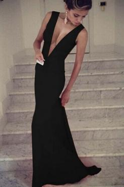 Свадьба - Maxi Plunge V Sleeveless Floor-length Black Evening Dress