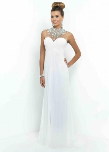 Wedding - Fashion Cheap White Ruched Sweetheart Beaded High Neck Sheer Back Formal Dress