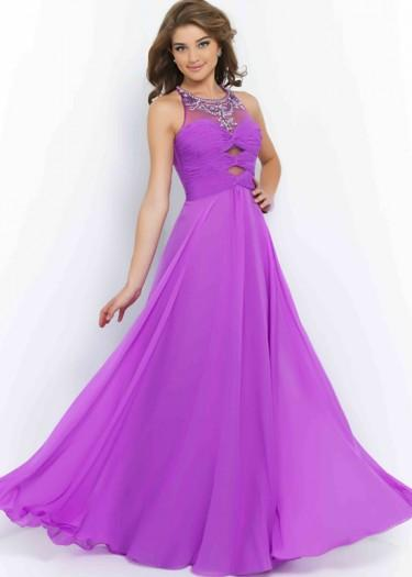 1ed105d23100a Fashion Cheap Wisteria Scoop Neck Beaded Cutouts Chiffon Long Prom Dress