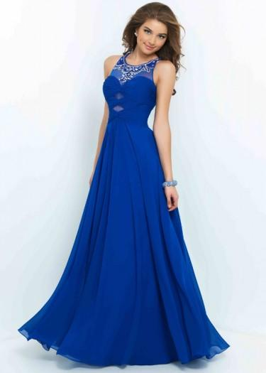 Wedding - New Cheap Long Flowy Sapphire Scoop Neck Beaded Cutouts Ruched Prom Dress
