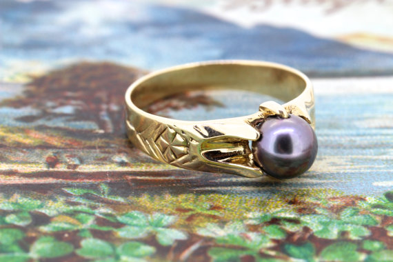 Wedding - Antique Pearl Engagement Ring