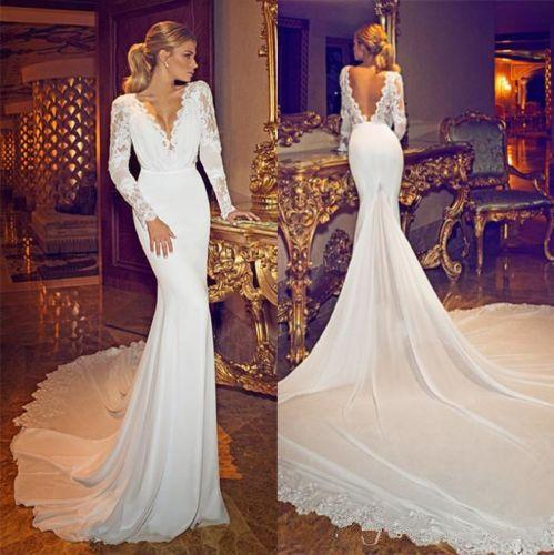 Wedding 2015 new sexy deep v neck backless wedding dresses mermaid