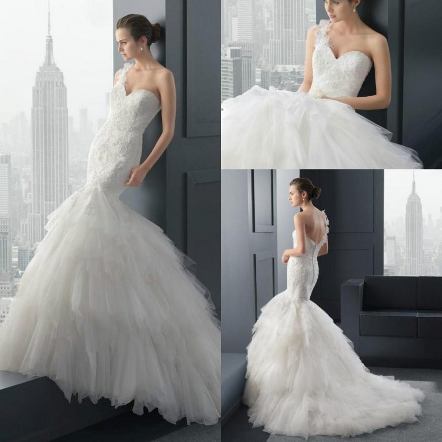 2015 one shoulder sexy mermaid wedding dresses slim tulle for Sexy designer wedding dresses
