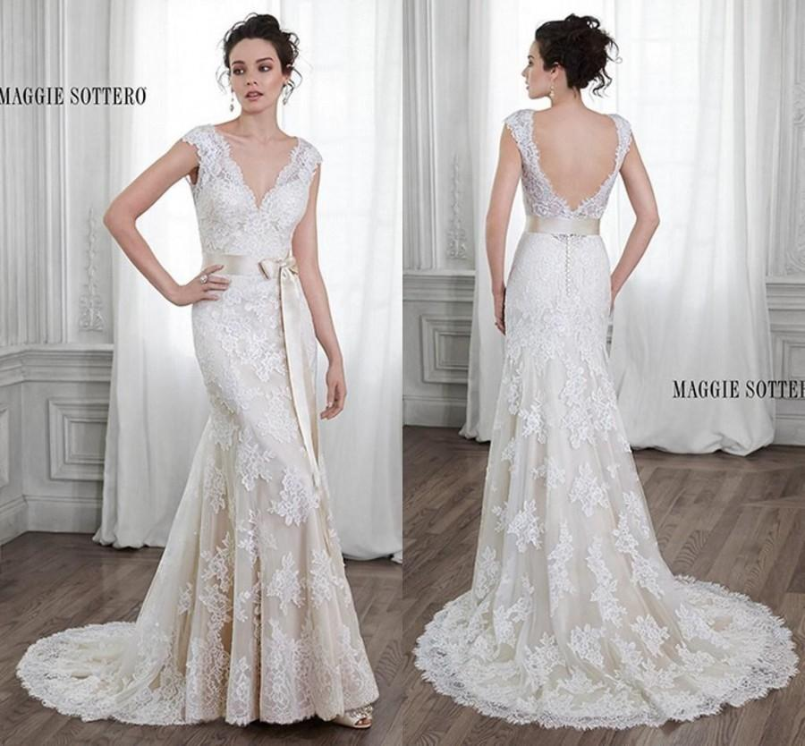 2015 Elegant Ivory Vintage Wedding Dresses Beach Bridal Gowns With ...