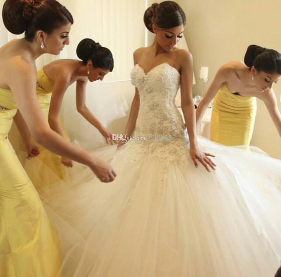 2014 mermaid wedding dresses applique beaded strapless for Mermaid sweetheart neckline wedding dress