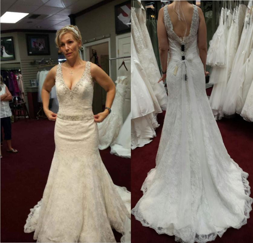 Wedding - 2014 New Arrival Mermaid Wedding Dresses V-Neck Backless Beaded Court Train Bridal Gowns Covered Button Online with $134.81/Piece on Hjklp88's Store