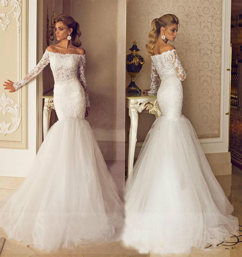 Hochzeit - Romantic 2015 Galia Lahav Wedding Dresses Bateau Neck Long Sleeve Illusion Modest Sheer Bridal Lace Tulle Chapel Train Applique Ball Gown Online with $121.75/Piece on Hjklp88's Store