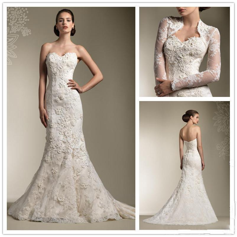 Wonderful Lace Appliques Mermaid Wedding Dresses Sweetheart Neckline