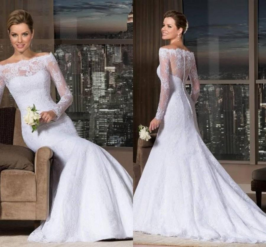 Vestido de noiva custom made 2015 vintage long sleeve for Custom wedding dress online