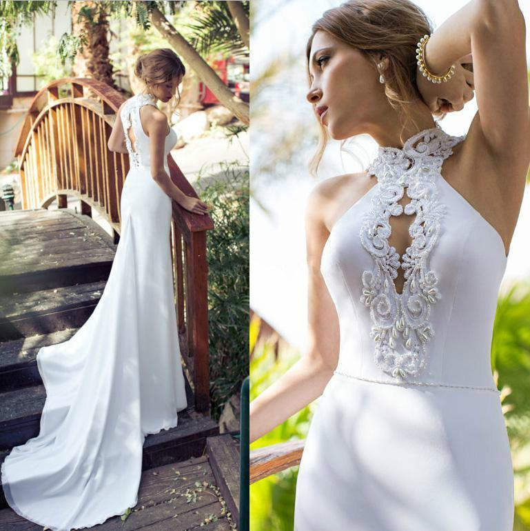 Wedding - New Arrival Wedding Dresses Julie Vino 2015 Spring Beach High Collar Applique Beaded Chiffon Bridal Dress Sexy Mermaid Gowns Court Train Online with $114.5/Piece on Hjklp88's Store